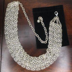 Vantage Antique Sterling Silver Flower Panel Belt